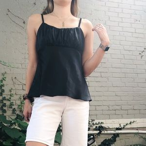 Black Silky Tank with Rouching